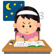 女の子が一生懸命勉強する様子のイラスト