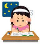 女の子が必死に勉強している様子のイラスト